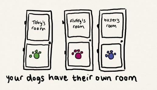 you might be a dog person if your dogs have their own rooms