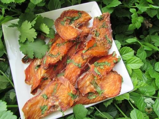 (dairy, gluten, grain and wheat-free) cilantro ginger chicken jerky dog treat recipe