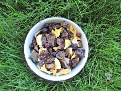 (dairy, gluten, grain and wheat-free) blueberry mango liver trail mix dog treat recipe