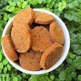 (wheat and dairy-free, vegan, vegetarian) sweet potato flax seed dog treat/biscuit recipe