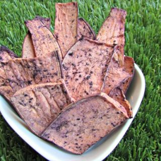 (wheat, gluten, grain and dairy-free, vegan, vegetarian) blueberry sweet potato chews dog treat recipe
