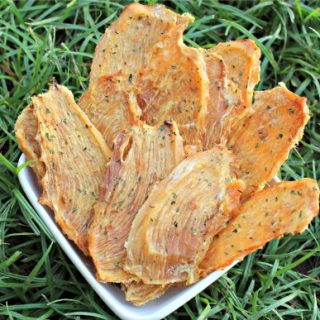 (wheat, grain, gluten and dairy-free) ginger mango chicken jerky dog treat recipe