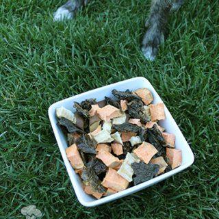 (grain, gluten, wheat and dairy-free) chicken liver & pear trail mix dog treat recipe